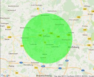 In diesem Radius (15km um Gifhorn) keine Anfahrtskosten für alle Leistungen